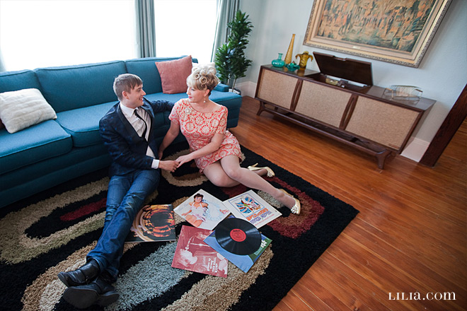 Engagement Session, Couple with Records