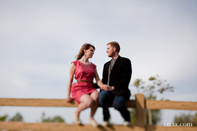 Livermore Engagement Session, Couple Sitting on a Fence