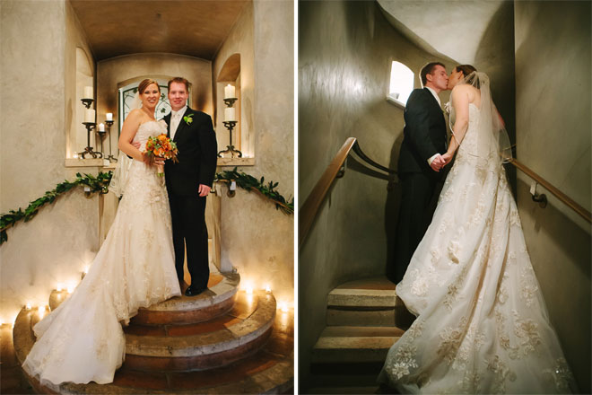 Bride and groom standing in wine cave of Viansa Winery in Sonoma