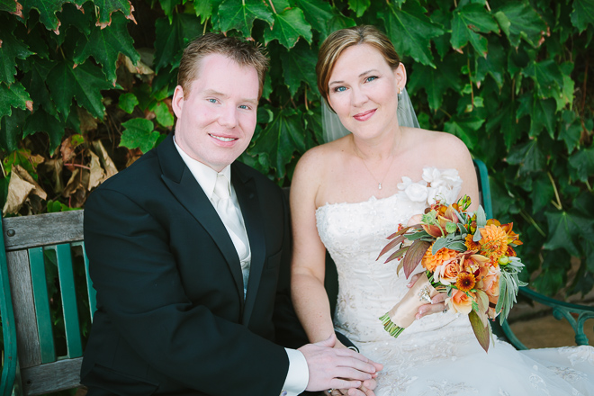 Portrait of a bride and groom at their Viansa Winery wedding in Sonoma
