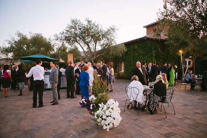 Guests enjoy a wedding reception at Viansa Winery in Sonoma