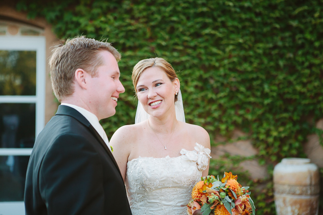 Bride looks lovingly at the groom at their Viansa Winery wedding in Sonoma