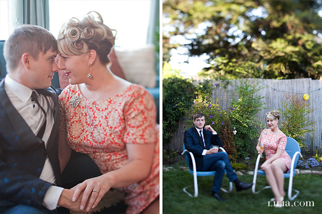 Oakland Engagement Session, Couple in Yard