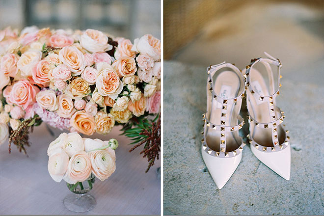 Blush colored Valentino Rockstud wedding shoes at Sunstone Village wedding